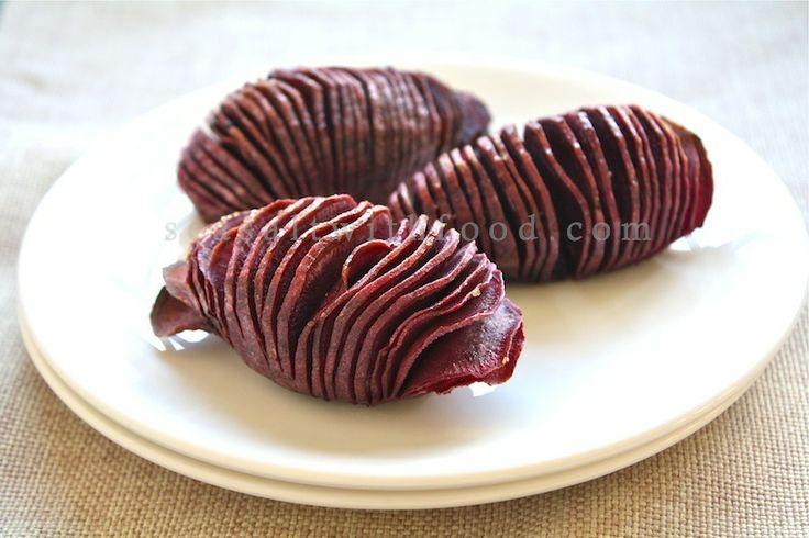 Roasted Sweet Potatoes! Similar to Hasselback potatoes - but use sweet ...