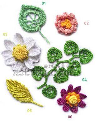 вязаные цветы - 000009