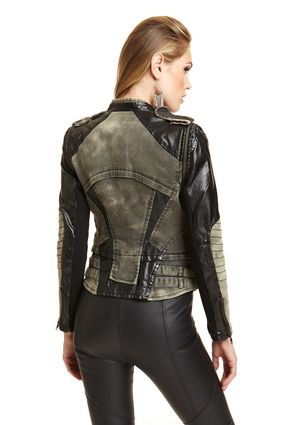 LUCE women's Long Sleeve Motorcycle Jacket with Faux Leather
