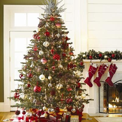 Christmas Tree Red White And Silver For The Home
