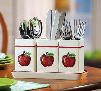 Apple decor ceramic 4 piece utensil holder for Apple decoration kitchen