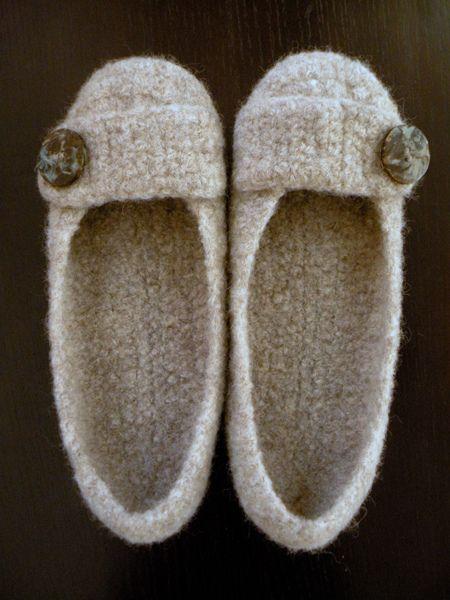 Felted Crochet Slippers pattern by Bonny Woods
