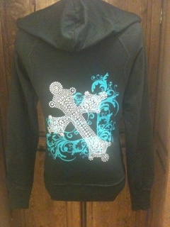 Turquoise Cross Raw Edge Hoodie Jacket