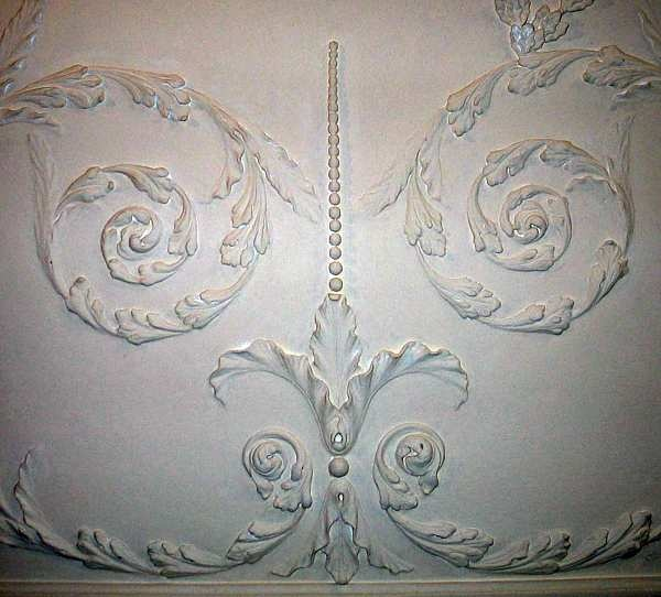 Scrollwork on Dining Room Ceiling at Mount Vernon