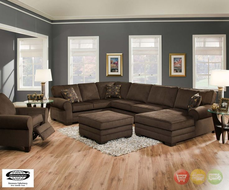 Plush brown upholstered u shaped sofa sectional living for U shaped couch living room