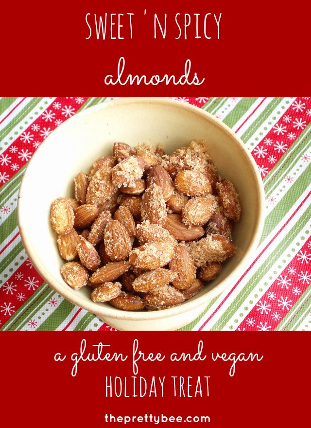 Sweet and spicy almonds - a gluten free and vegan holiday treat.