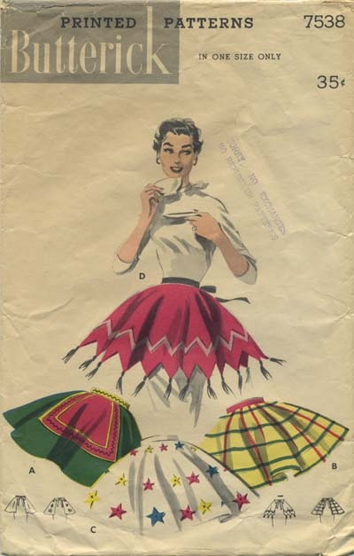 Vintage Apron Sewing Pattern | Butterick 7538 | Year 1955 | One Size