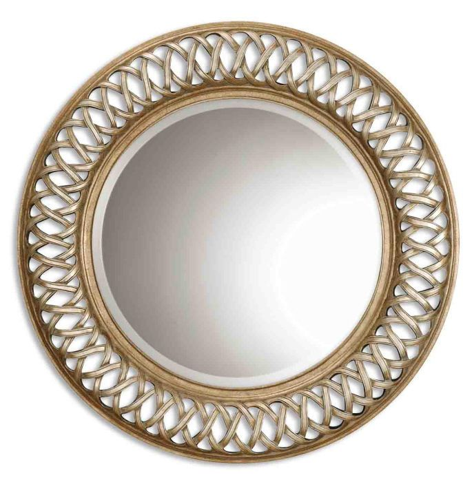 Large lattice round wall mirror open fret frame beveled for Large round gold mirror