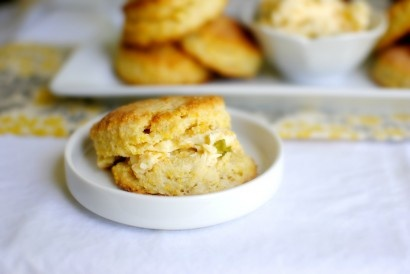 Cornmeal Buttermilk Biscuits with Jalapeno Cheddar Butter | Recipe