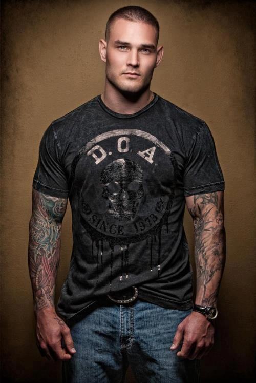tough guy muscle sleeve tattoo art eye yai yai candy pint. Black Bedroom Furniture Sets. Home Design Ideas
