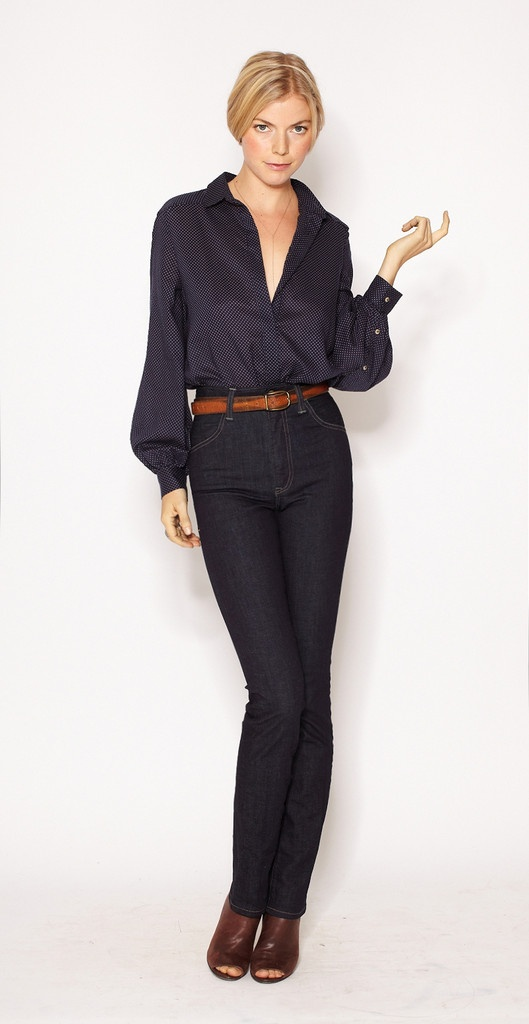 I love the dark blue denim, But that shirt is to die for however I would definitely pair this with lower jeans and a pair of low heel brown boots and some accessories