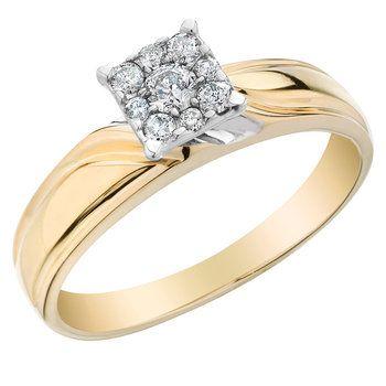 Bague de fiancailles sertis de diamants totalisant 0.21 Carats Pureté ...