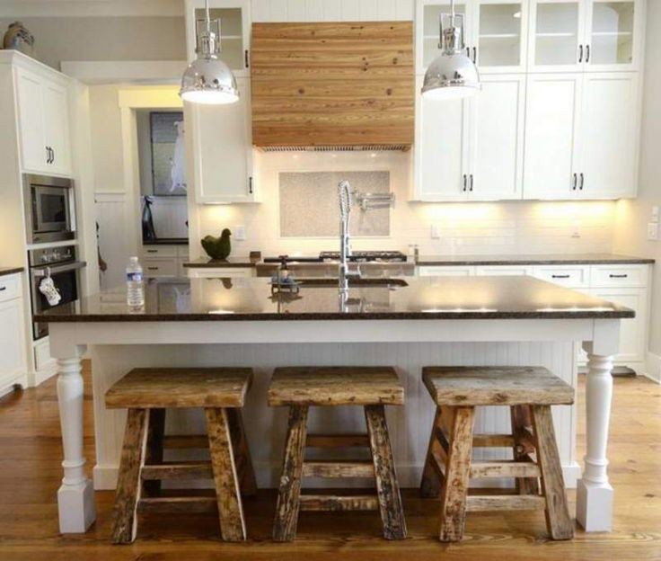 Rustic White Kitchen Cabinets With Bench