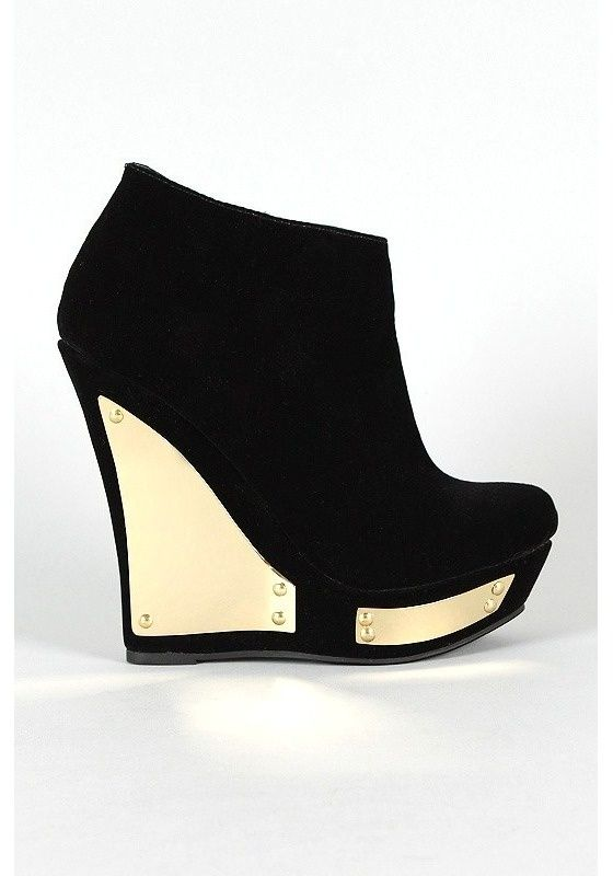 Gold heel wedge bootie