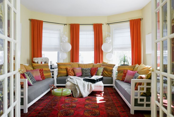 Red Orange And Yellow Living Room Creating My Home Pinterest
