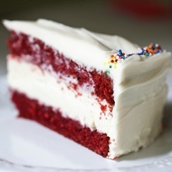 Red velvet cake with a layer of cheesecake