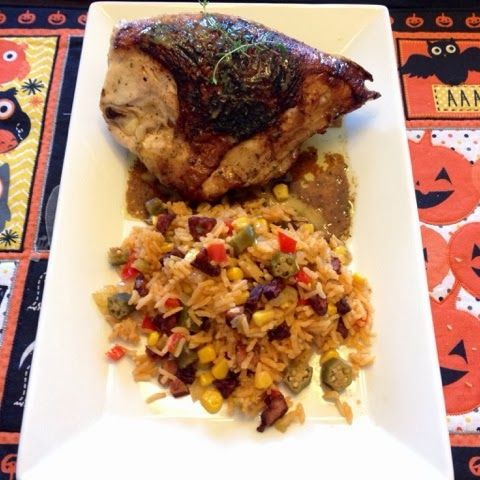 ... Helpings: Garlic Roasted Chicken with Purple Okra Creole Rice Pilaf