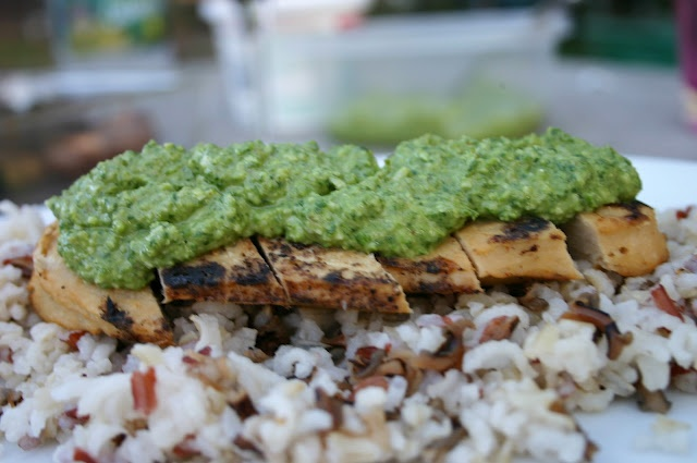 ... Quorn cutlet with spinach pesto atop a texmati and wild rice blend