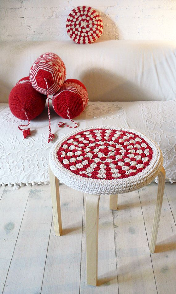 Crochet Stool Cover  red and ecru