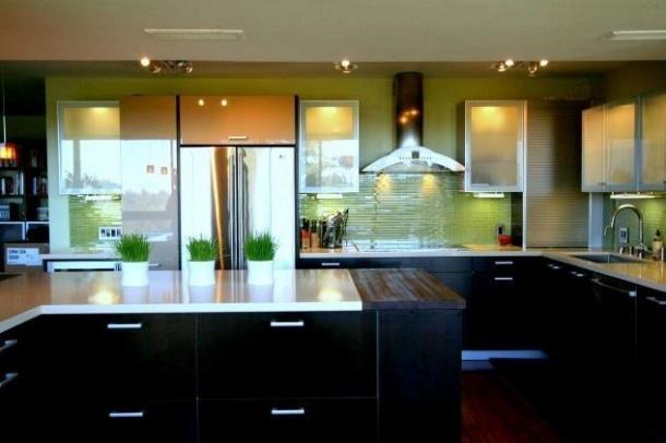 Modern Kitchen with Lime Green  Modern ~ Kitchens  Pinterest
