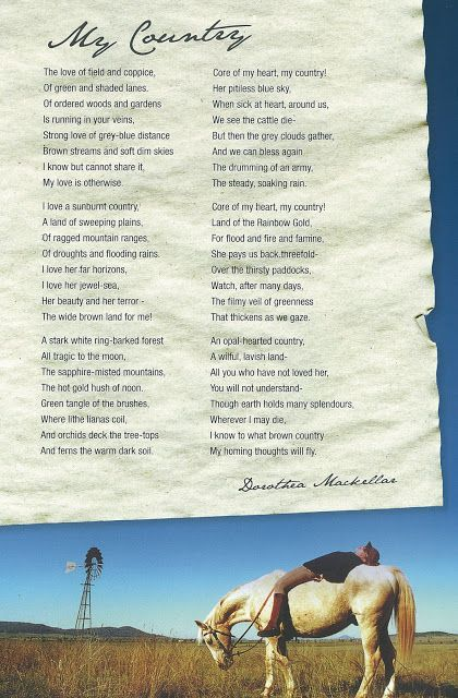 my country - dorothea mackellar analysis essay My country, is an iconic australian poem written by dorothea mackallar in 1908 the poem deals with nature descriptions of australia the object of the poem was to inform people about the much wondrous splendour that reflect on our great country australia.