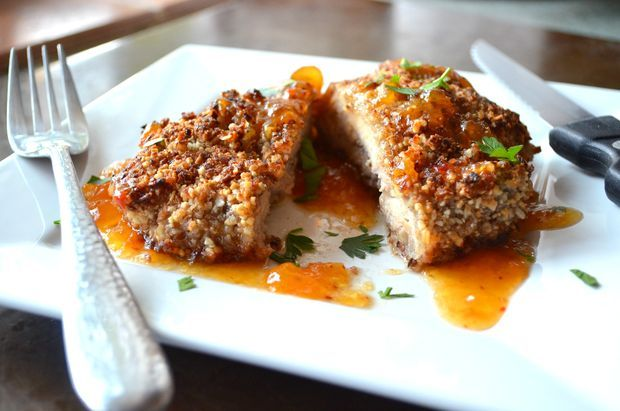 Coconut Pecan Crusted Chicken served with Sweet and Spicy Apricot Sau ...