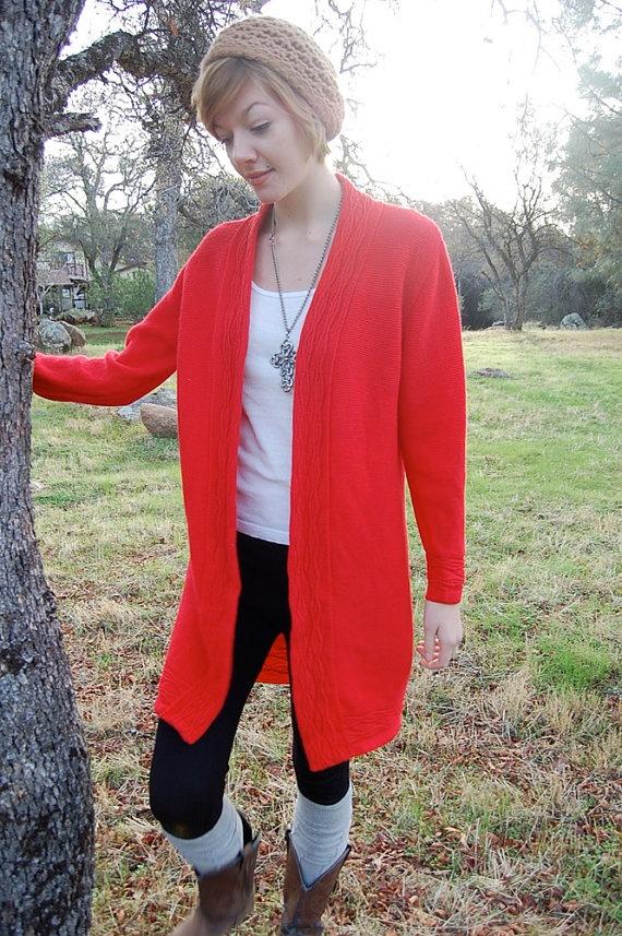 Sweater coat vintage red wool rib knit boho sweater coat s m