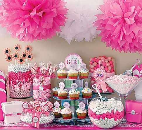 cute pink candy table for baby shower candy bar table pinterest