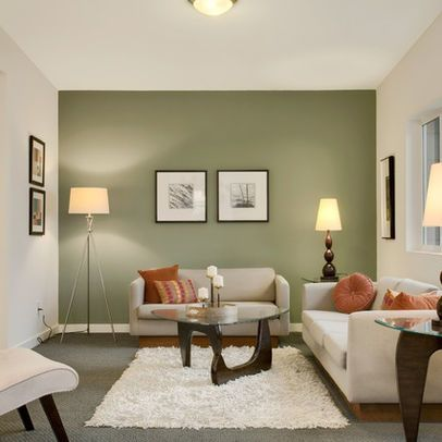 Green Accent Wall In Living Room For The Home Pinterest