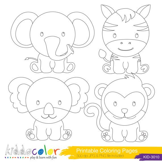 Printable Cute Wild Animals Coloring Pages Amp Digital Stamp 2