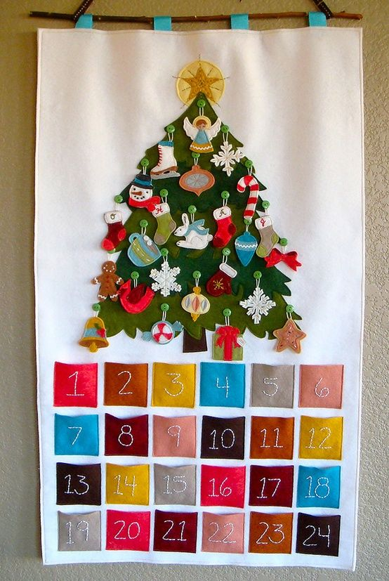 Felt advent calendar christmas tree with ornaments that fit in