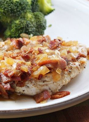 Chicken with Cider and Bacon Sauce #recipe