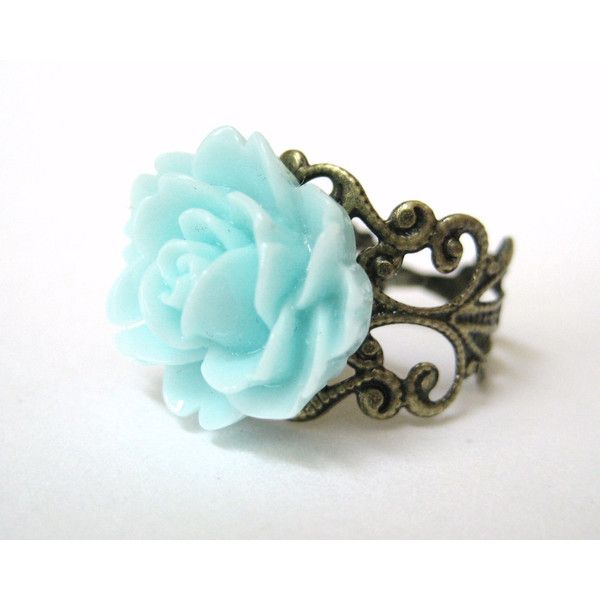 Jewelry Aquamarine Ring Light Blue Rose Ring Antiqued Brass Filigree... ($14) ❤ liked on Polyvore