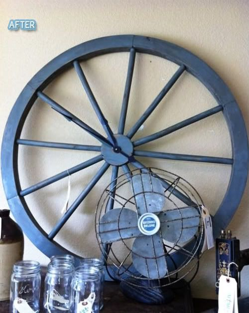 clock for the cabin out of a wagon wheel. @Bonnie Heyrend