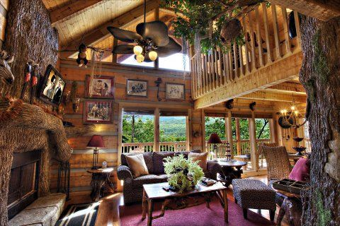 Log Cabin Living Room Dream House Plans Pinterest