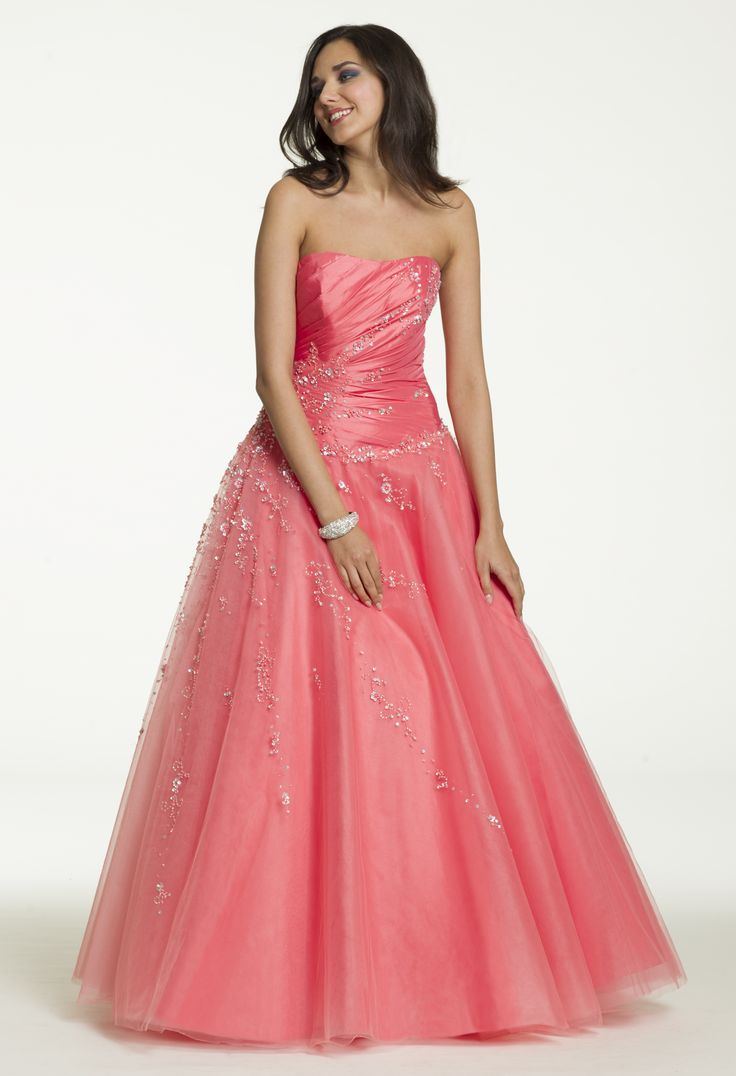 Long Taffeta Tulle Pink Ballgown Dress for prom, sweet sixteen party or quinceanera by Camille La Vie