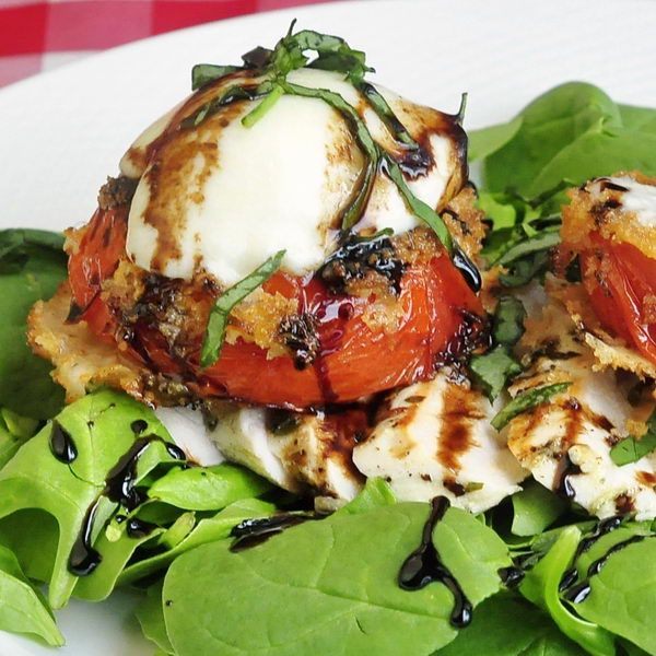 ... and balsamic reduction. A baked option for the tomatoes is included