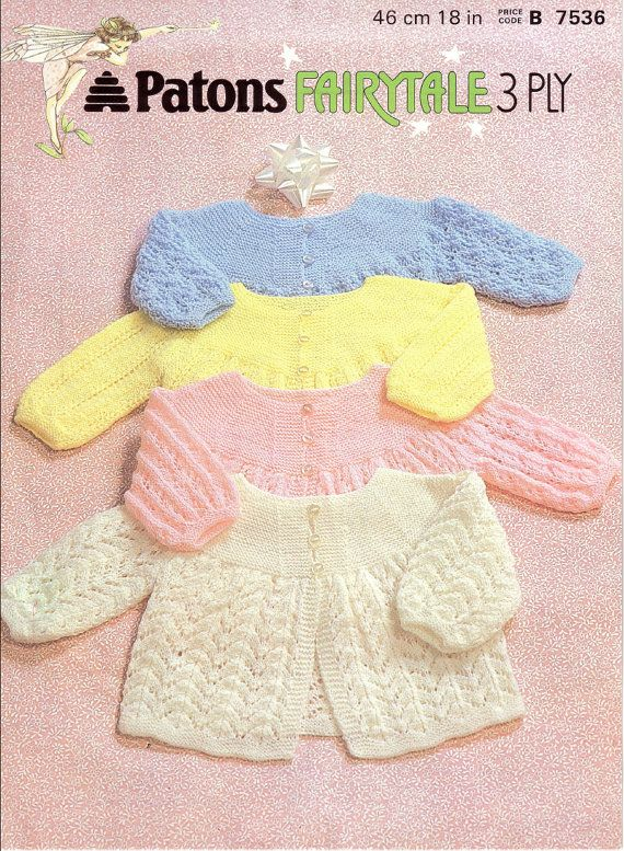 Vintage Knitting Patterns For Baby : Vintage PDF Baby Knitting Pattern - Patons 7536 - matinee coat Instan?