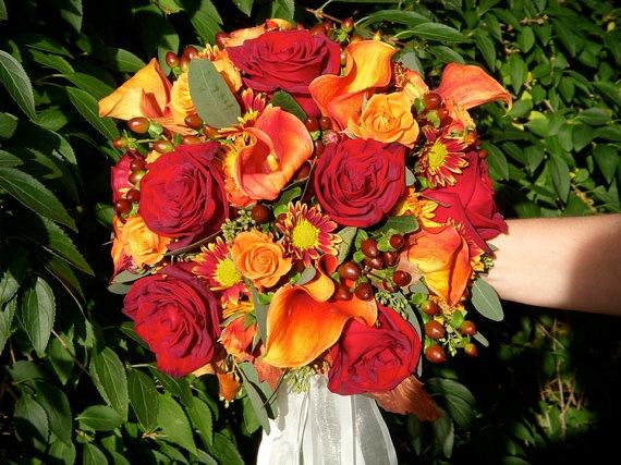 Fall Wedding Bouquets Fake : Fall wedding bouquet made of silk flowers