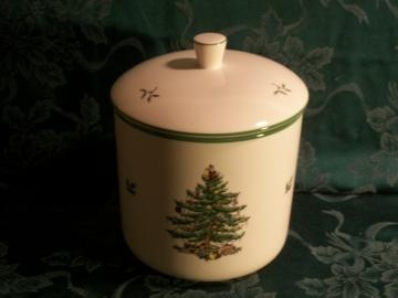 Vintage Spode Christmas Tree Cookie Jar, Traditional Holiday Home Decor, Pristine Condition, Original Boxed Collectable Fine China by TKSPRINGTHINGS for $39.95