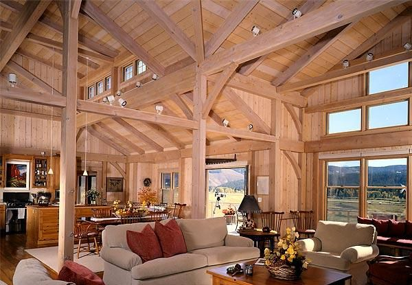 Timber Frame Home Great Room In Colorado Timber Frame