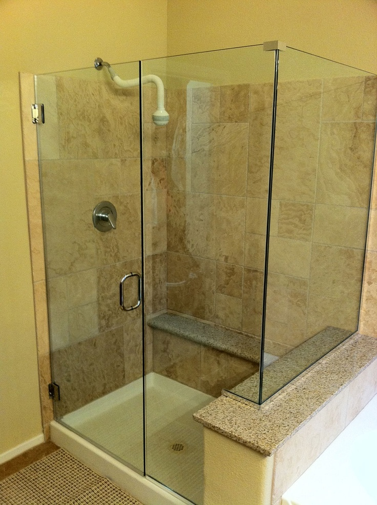 Glass Corner Shower With Pony Wall Bathroom Remodel