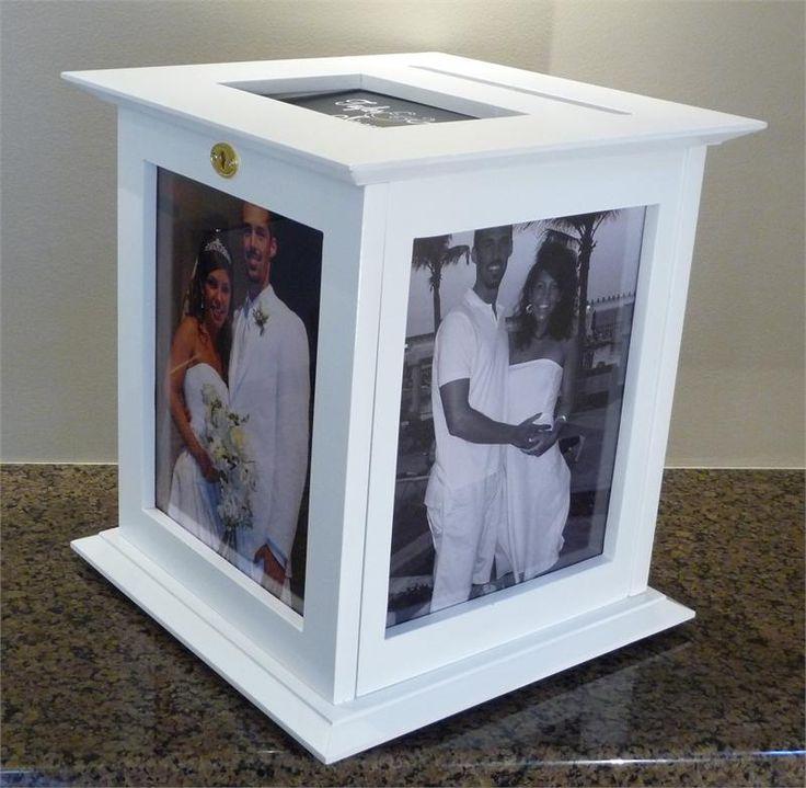 White Wedding Card Box | 8x10 | Photo | Lock | Envelope | Unique