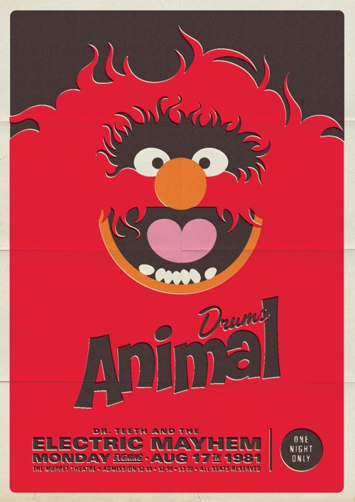 Brilliant Muppets themed posters for Dr. Teeth and the Electric Mayhem. I must have these... #muppets #Animal #drums #vintage #poster #retro #80s