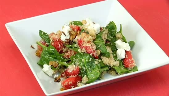 Quinoa salad with strawberries, spinach, toasted almonds and goat ...