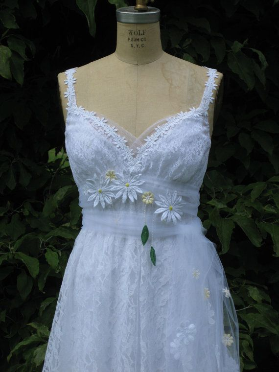 Yellow daisy lace wedding dress by hippiebride on etsy