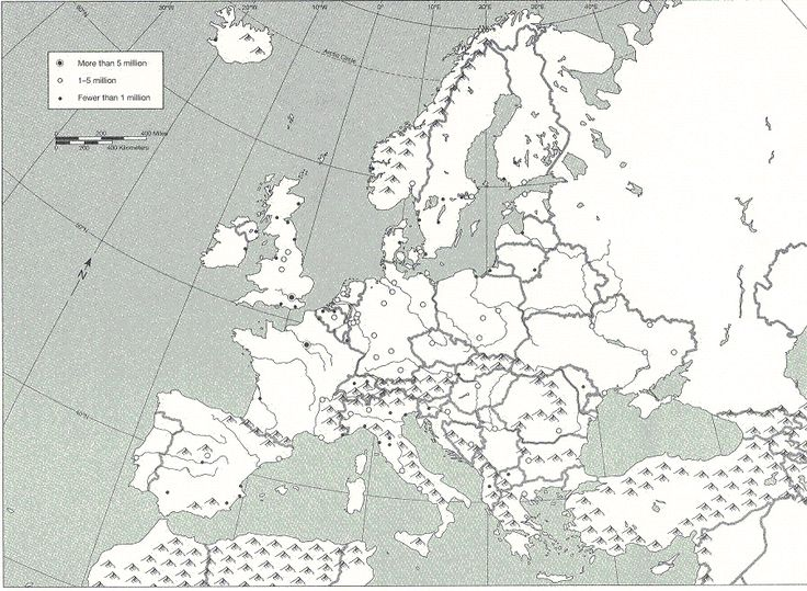 Blank) Physical-Political Map of Europe | Maps + Historic Timelines ...