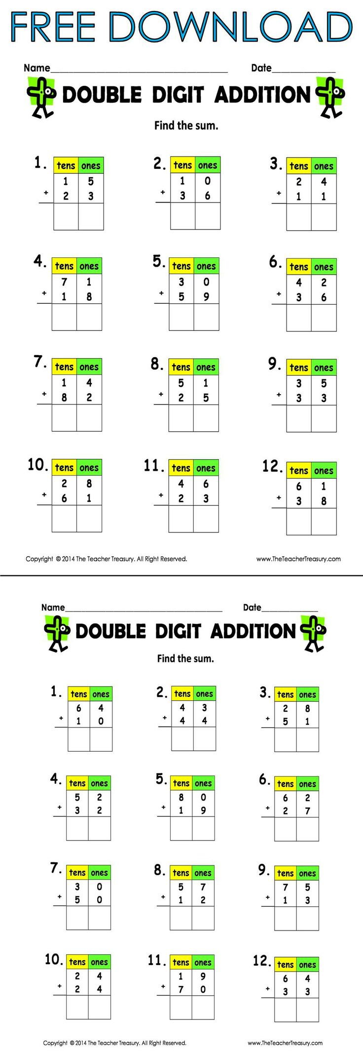 Double digit addition worksheets without regrouping free