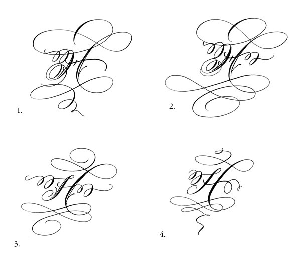 H Copperplate Calligraphy Monograms T Y P E Pinterest