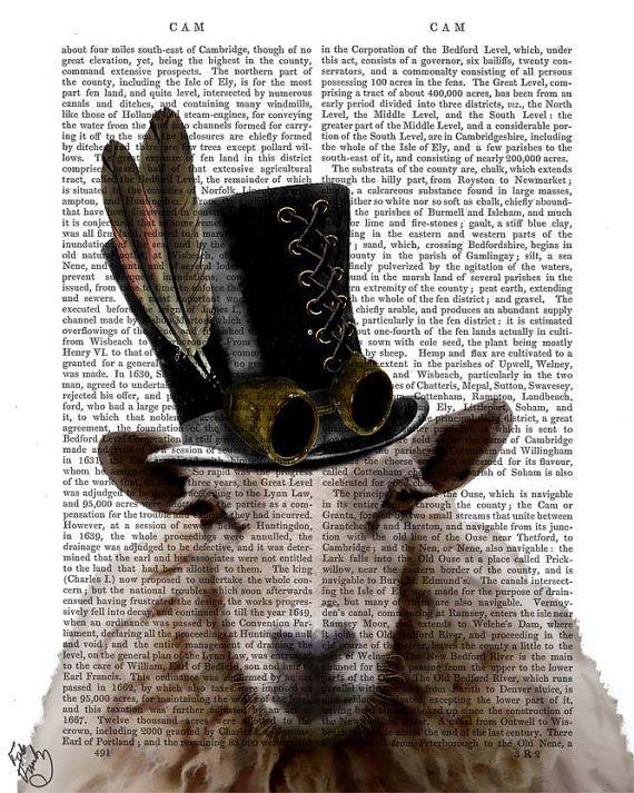 Steampunk Art Print Steampunk Sheep Art Book Page Wall